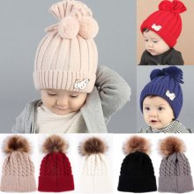 Soft Baby Boy Girls Kids Winter Warm Hat Fur Pom Bobble Knit Crochet Beanie Cap