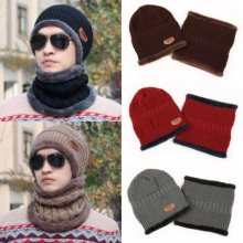 Men Camping Hat Winter Beanie Baggy Warm Wool Fleece Ski Cap & Neckerchief Set