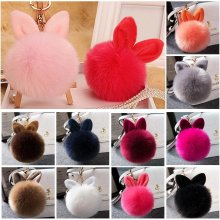 Soft Fluffy Faux Fur Rabbit Ear Pompom Ball HandBag Pendant Car Key Chain Hot