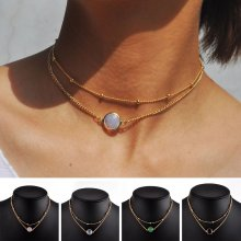 Fashion Women Crystal Jewelry Choker Chunky Statement Bib Pendant Chain Necklace