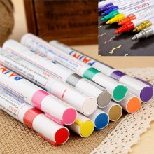 Universal Permanent Paint Pen Tire Metal Outdoor Marking Ink Marker 12 colors