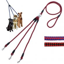 Hot Sale 3 Way Pet Dog Nylon Woven Coupler Leash No-Tangle 3 Small Dog Walking