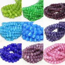 Cat's Eye Round Ball Crystal Glass Loose Spacer Beads 6mm