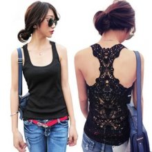 Fashion Sexy Women's Lace Flower Tank Top Cami Sleeveless Casual Cotton T-Shirt