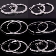 Fashion Big Clear Crystal Rhinestone Circle Round Hoop Charm Earrings 32- 80mm