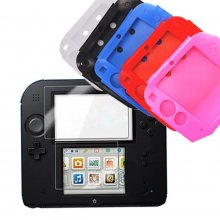 Soft Silicone Rubber Skin Cases Cover + Clear Screen Protector For Nintendo 2DS