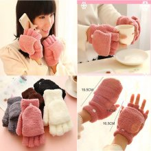 Women Winter Warmer Knitted Fingerless Gloves Unisex Soft Half Cuff Mittens Cute