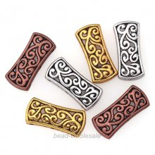 5Pcs Tibetan Silver Hollow Carved 3-Hole Spacer Beads Bar Charms