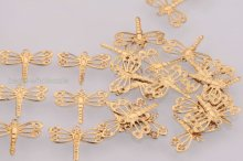 wholesale 100pcs golden Tone dragonfly charm pendants 15mm