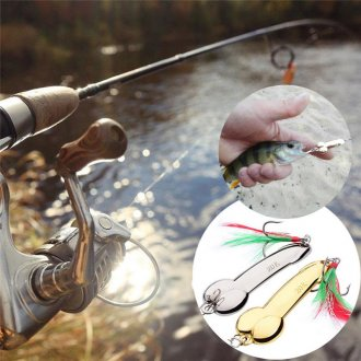 1x-Spoon-Fishing-Lure-5g-20g-with-Feather-Hooks-Gold-Silver-Metal-Bait-Tackle