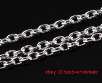 10 M Silver Plated Cable Chains Finding Without Clasps (open link)Jewelry Making