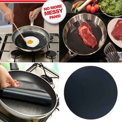 2PCS Black Round Non-stick Frying Pan Liner The Best Product For Cooking CN