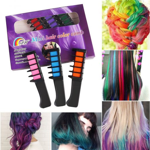 6PCS Temporary Hair Chalk Hair Color Comb Dye Salon Kits Party Fans Cosplay