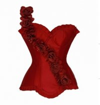 Red Black White Sexy shoulder chest rose plus size corset