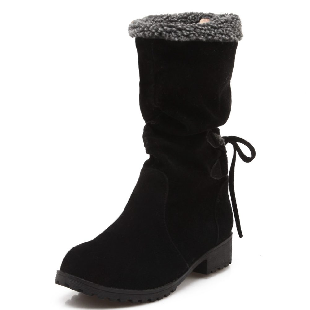 US$ 30.99 - Decostain Women's Faux Fur Lace-up Pointed Toe Mid calf Boots -  www.decostain.com