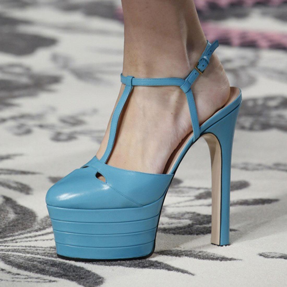 women\'s t-strap high heels round toe platform party wedding dress ...