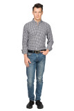 Mens Button Down Regular fit Washed Cotton Plaid Shirt Black/White