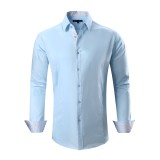 Mens Dress Shirts Cotton Spandex Casual Regular Fit Long Sleeve Shirt Blue