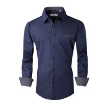 Mens Dress Shirts Cotton Spandex Regular Fit Fashion Long Sleeve Shirt Navy