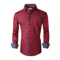 Mens Dress Shirts Cotton Spandex Regular Fit Fashion Long Sleeve Shirt Burgundy