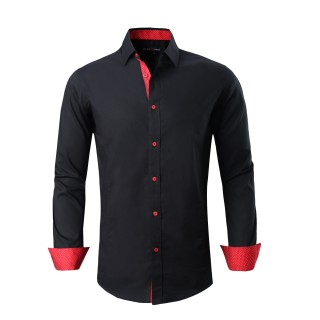 Mens Dress Shirts Cotton Spandex Casual Regular Fit Long Sleeve Shirt Black