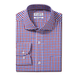 Mens Modern Fit Cotton Formal Dress Shirts Blue/Red