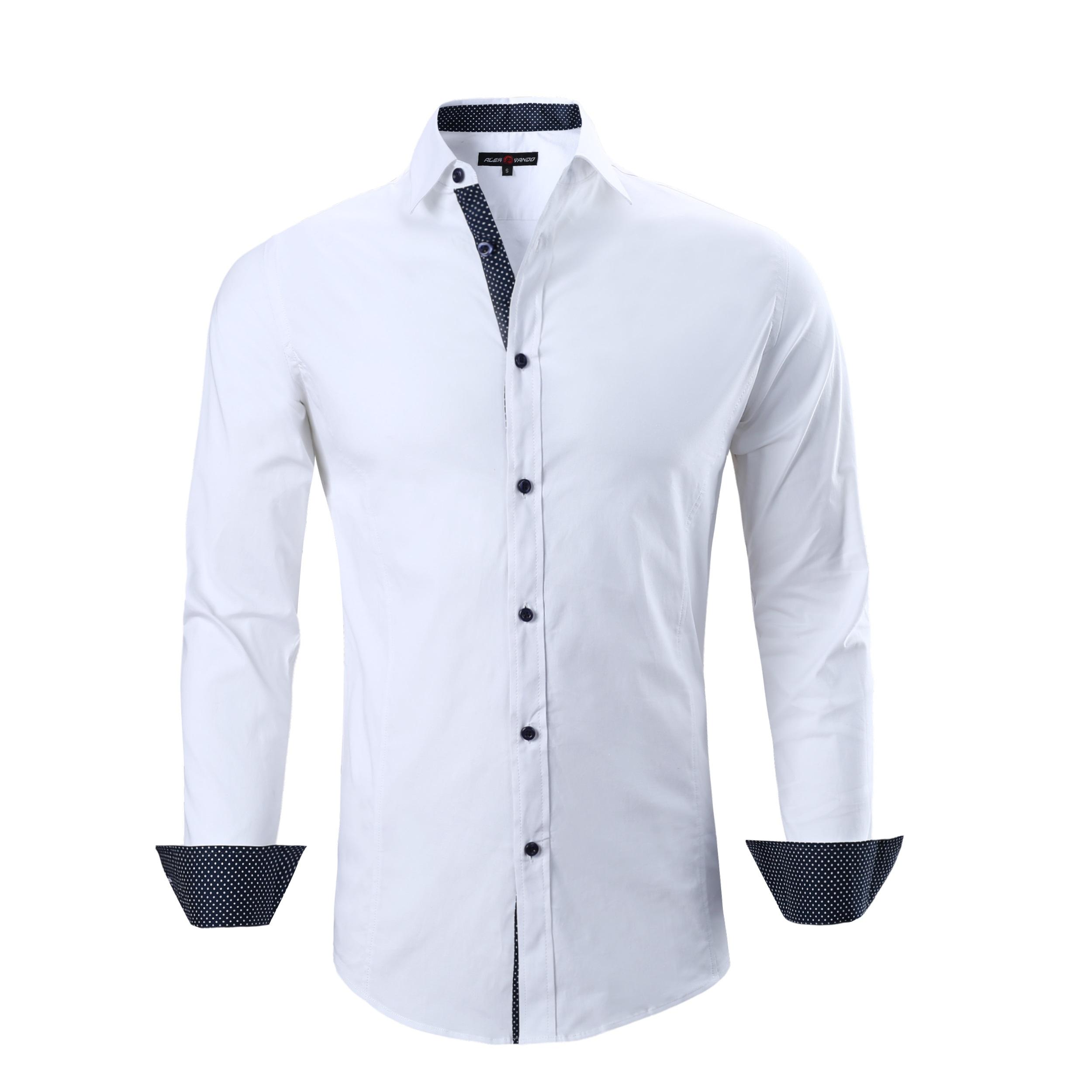 Mens Dress Shirts Cotton Spandex Casual Regular Fit Long Sleeve Shirt White