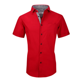 Mens Dress Shirts Cotton Spandex Regullar Fit Short Sleeve Shirt Red