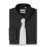 Mens Dress Shirts Solid Color Long Sleeve Solid Black