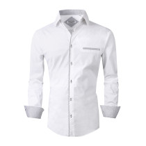 Mens Dress Shirts Cotton Spandex Regular Fit Fashion Long Sleeve Shirt White
