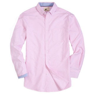 Mens Button Down Regular fit Washed Oxford Dress Shirt Pink