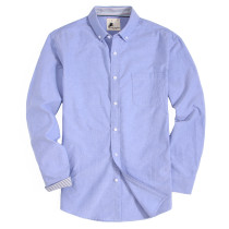 Mens Button Down Regular fit Washed Oxford Dress Shirt Blue