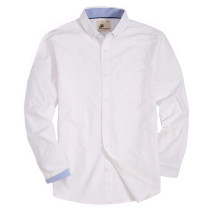 Mens Button Down Regular fit Washed Oxford Dress Shirt White