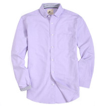 Mens Button Down Regular fit Washed Oxford Dress Shirt Purple