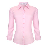 Womens Button Down Shirts Long Sleeve Cotton Stretch Work Shirt Pink