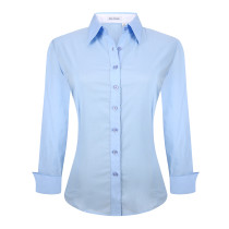Womens Button Down Shirts Long Sleeve Cotton Stretch Work Shirt Blue