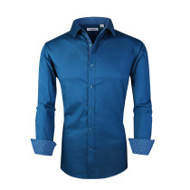 Mens Dress Shirts Cotton Spandex Casual Regular Fit Long Sleeve Shirt Teal