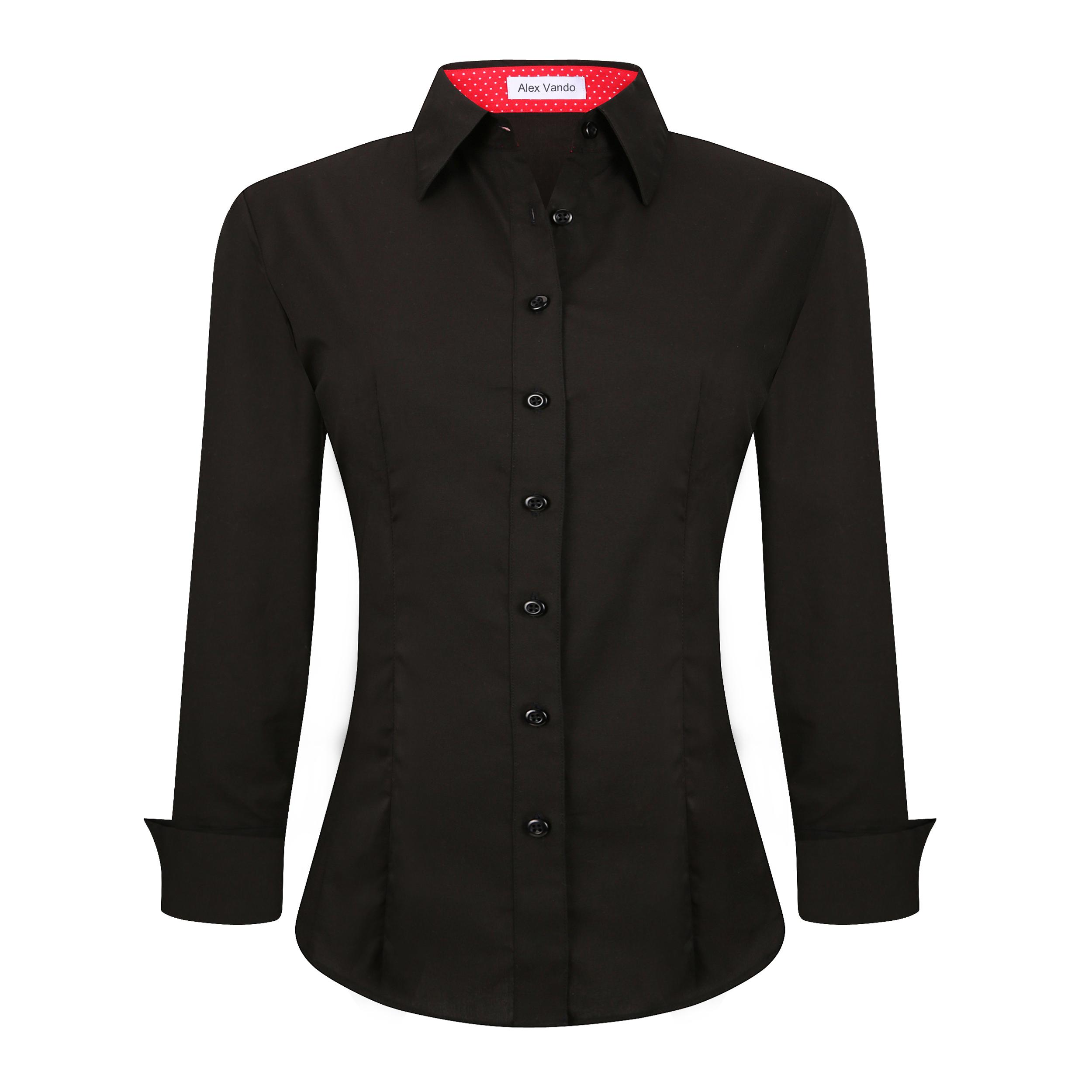 856130fe326f Womens Button Down Shirts Long Sleeve Cotton Stretch Work Shirt Black Item  NO: Women-01-Black