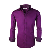 Mens Dress Shirts Cotton Spandex Casual Regular Fit Long Sleeve Shirt Purple
