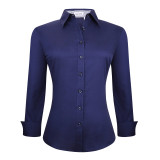 Womens Button Down Shirts Long Sleeve Cotton Stretch Work Shirt Navy