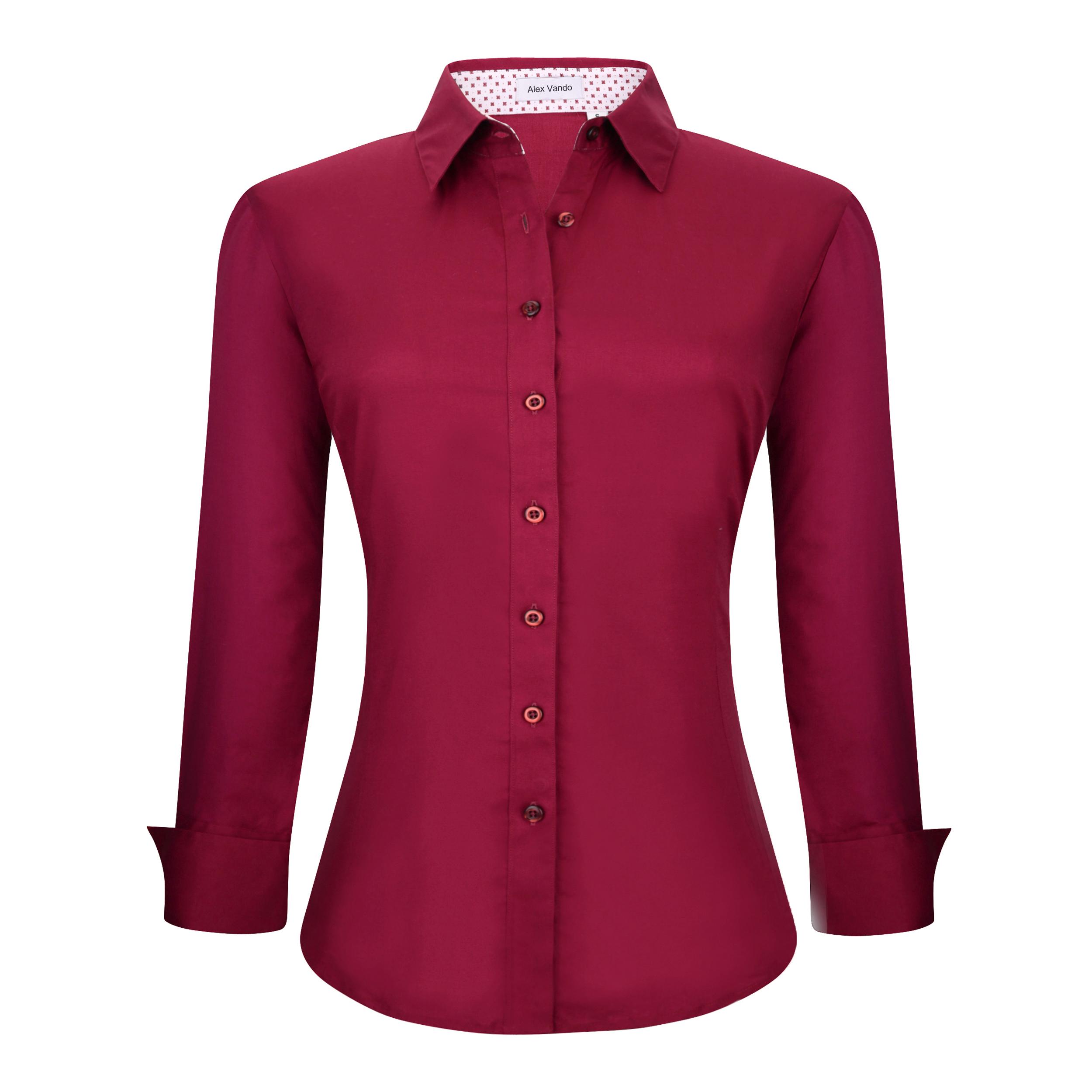 36ae194126 Womens Button Down Shirts Long Sleeve Cotton Stretch Work Shirt Burgundy  Item NO  Women-01-Burgundy