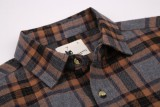 Mens Casual Button Down Regular Fit Flannel Shirts Grey 208-262