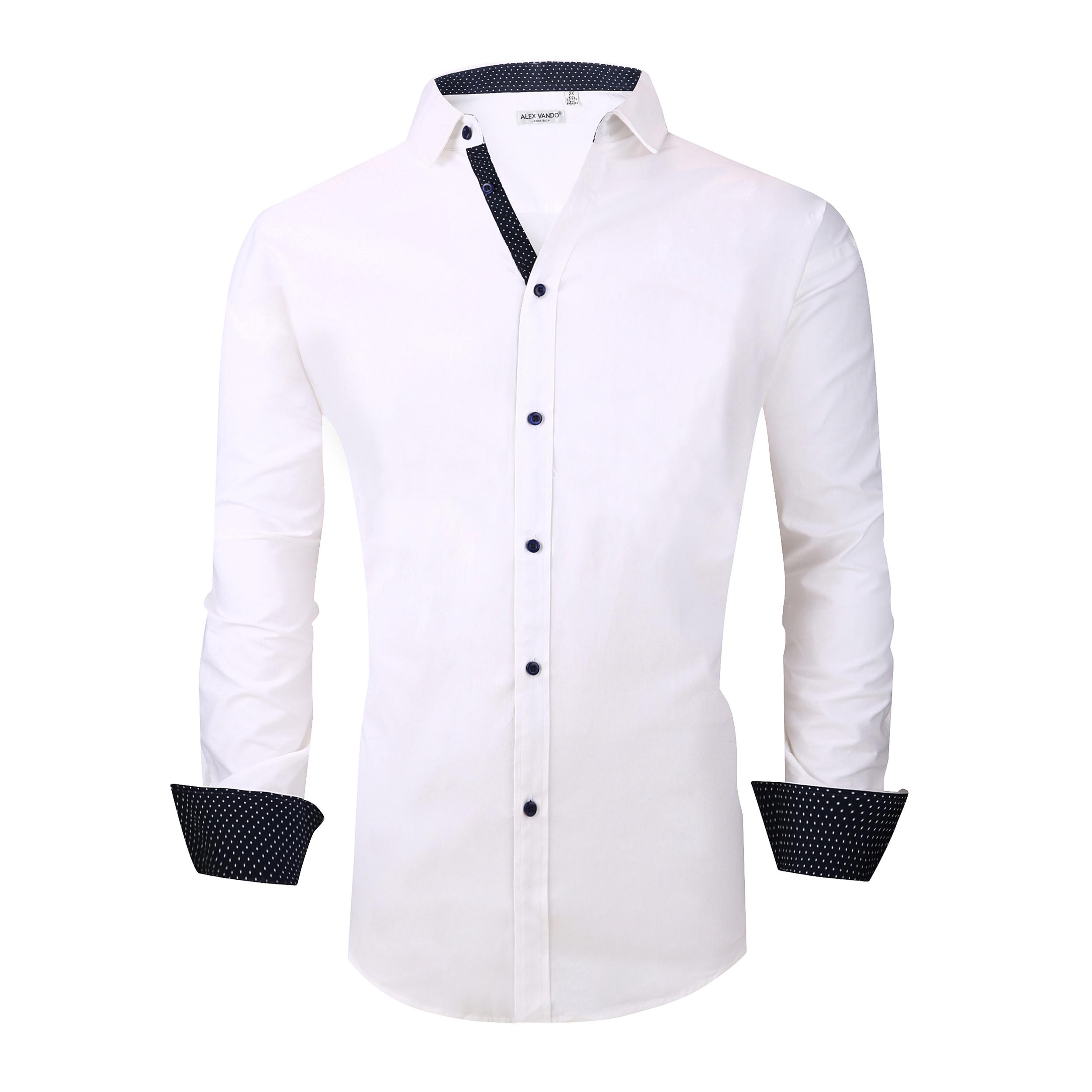 d21c91f8a40 Alex Vando Mens Big & Tall Dress Shirts Regular Fit Long Sleeve Men Shirt  White
