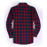Mens Casual Button Down Regular Fit Flannel Shirts Navy HS16298-2