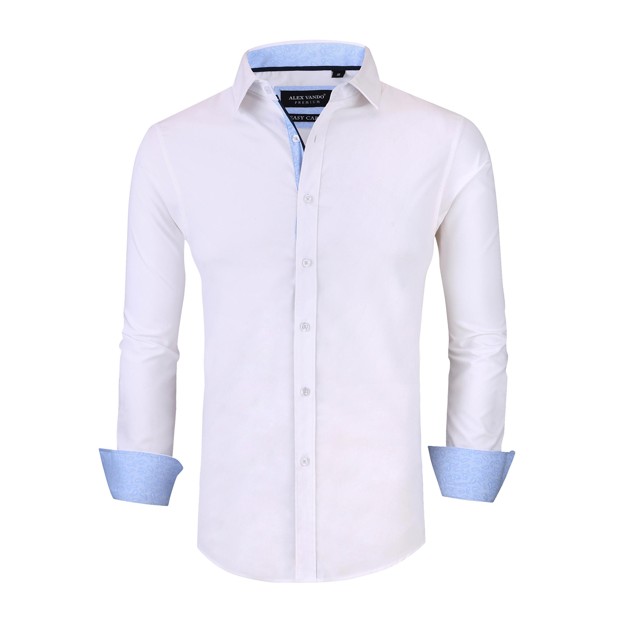 057b6dbb39a Alex Vando Mens Dress Shirts Wrinkle Free Slim Fit Long Sleeve Men Shirt  Item NO  Solid-04-White