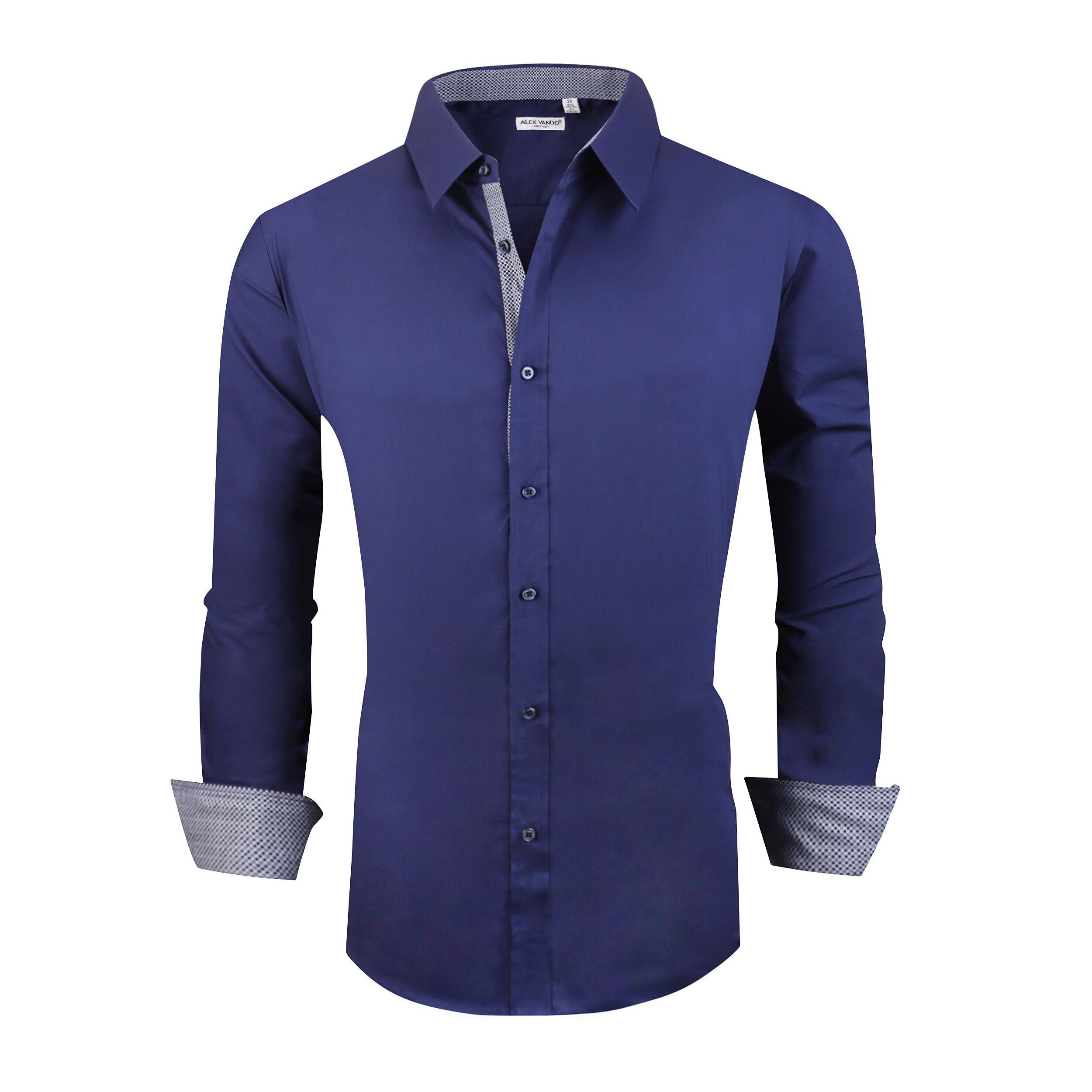 d96275f852d Alex Vando Mens Big & Tall Dress Shirts Regular Fit Long Sleeve Men Shirt  Navy