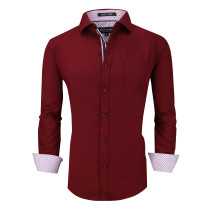Alex Vando Mens Dress Shirts Wrinkle Free Regular Fit Long Sleeve Men Shirt Burgundy