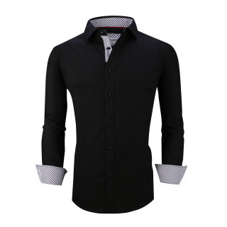 Mens Dress Shirts Cotton Spandex Casual Regular Fit Long Sleeve Shirt L19-Black