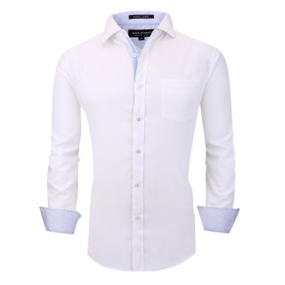 Alex Vando Mens Dress Shirts Wrinkle Free Regular Fit Long Sleeve Men Shirt White