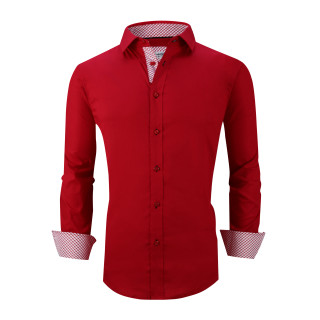 Mens Dress Shirts Cotton Spandex Casual Regular Fit Long Sleeve Shirt L19-Red